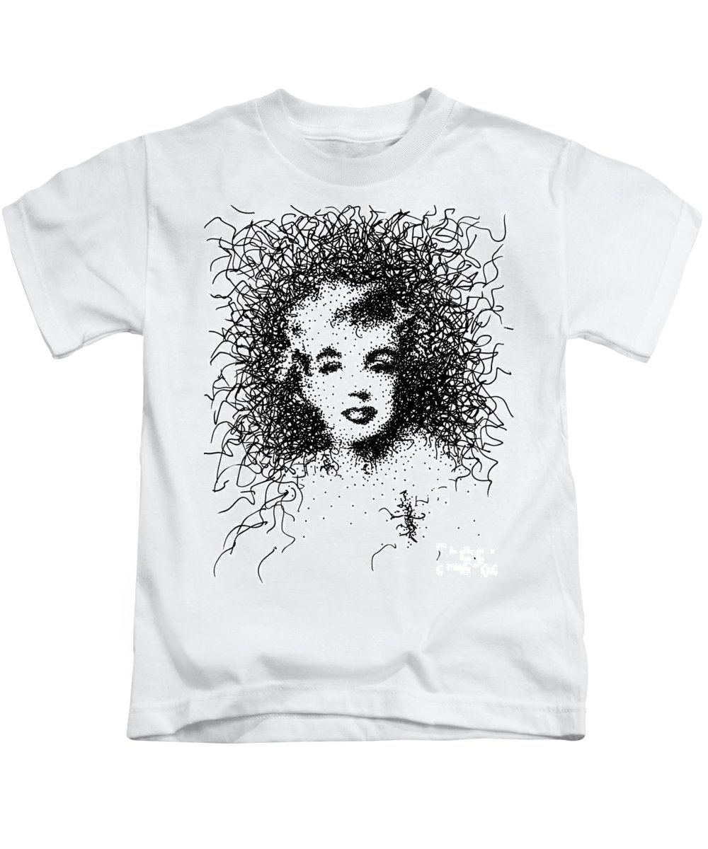Nude Kids T-Shirt featuring the mixed media Marilyn by KJ Wellington