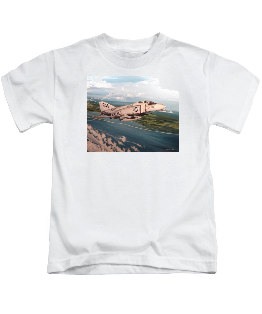 Aviation Kids T-Shirt featuring the painting Marine Phantom by Marc Stewart