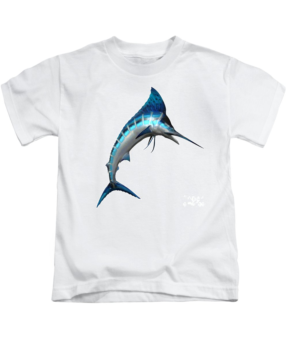 Marlin Kids T-Shirt featuring the painting Marlin Side Profile by Corey Ford