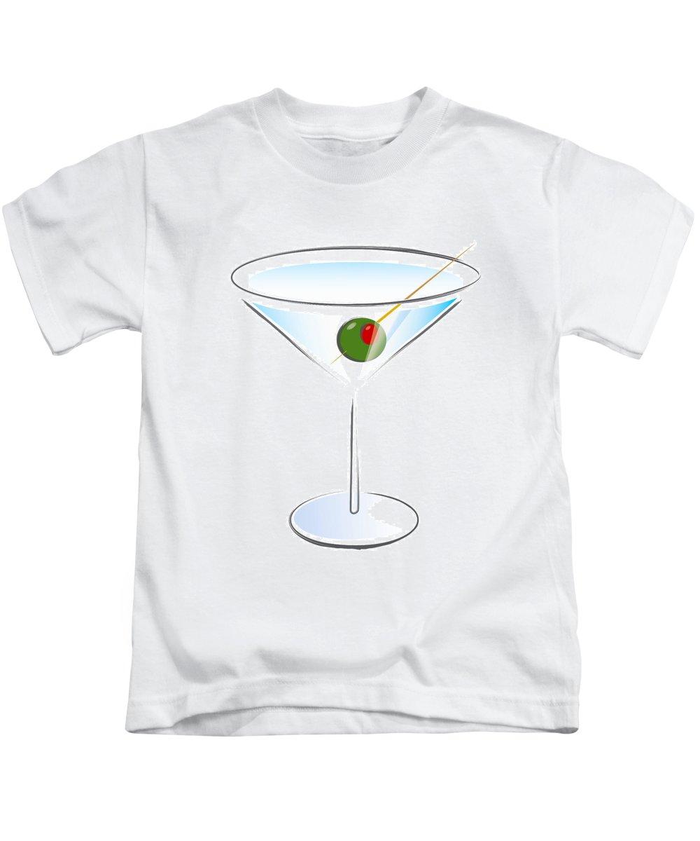 Martini Kids T-Shirt featuring the digital art Martini Glass by Tom Kostro