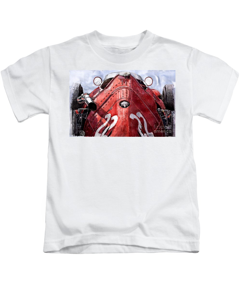 Watercolour Kids T-Shirt featuring the painting Maserati 250f Alien by Yuriy Shevchuk