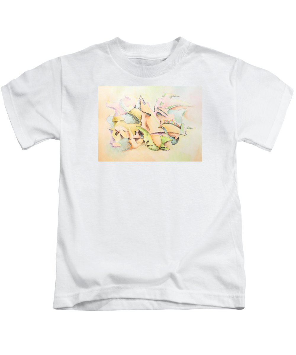 Watercolor Kids T-Shirt featuring the painting Mask by Dave Martsolf