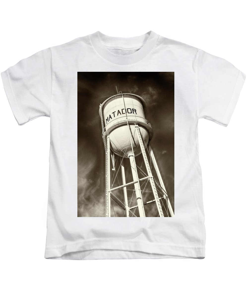 Water Tower Kids T-Shirt featuring the photograph Matador Texas Water Tower by Stephen Stookey