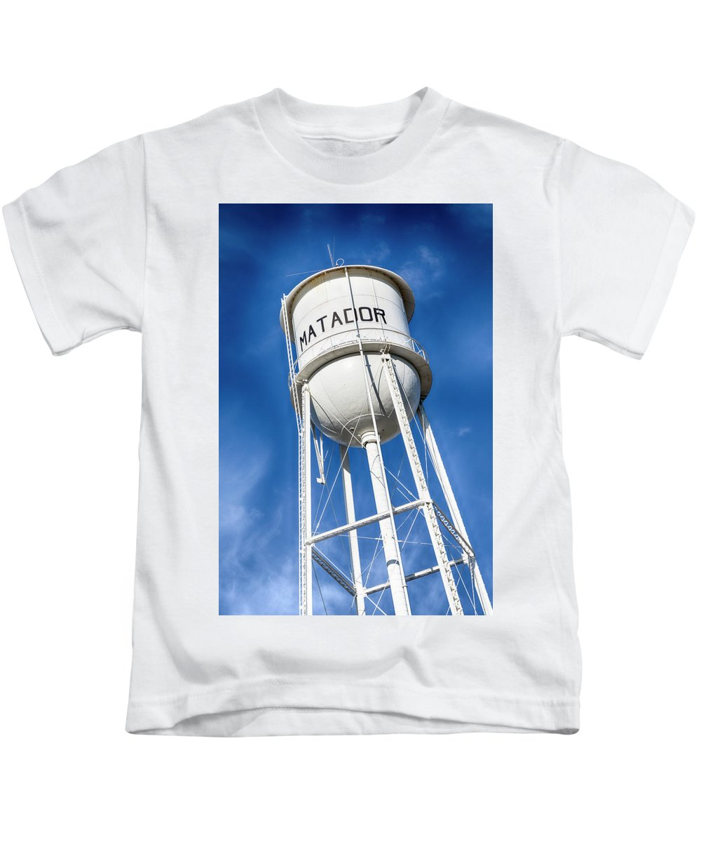 Water Tower Kids T-Shirt featuring the photograph Matador Water Tower by Stephen Stookey