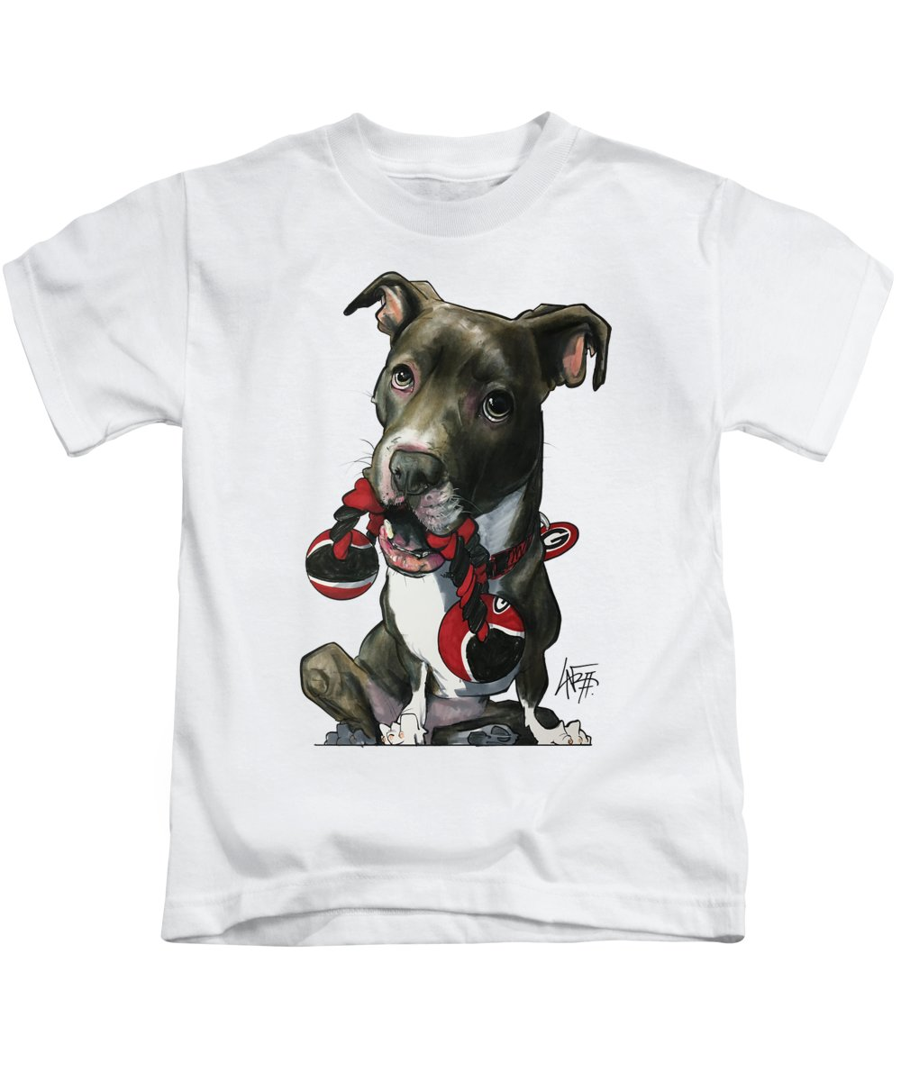 Pet Portrait Kids T-Shirt featuring the drawing Mauras 3412 by John LaFree