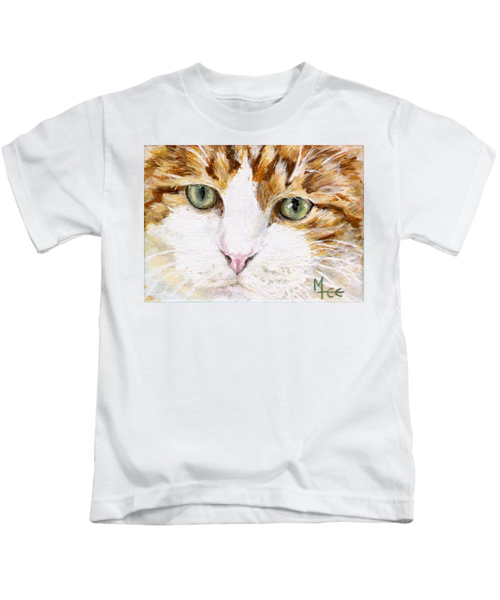 Charity Kids T-Shirt featuring the painting Max by Mary-Lee Sanders