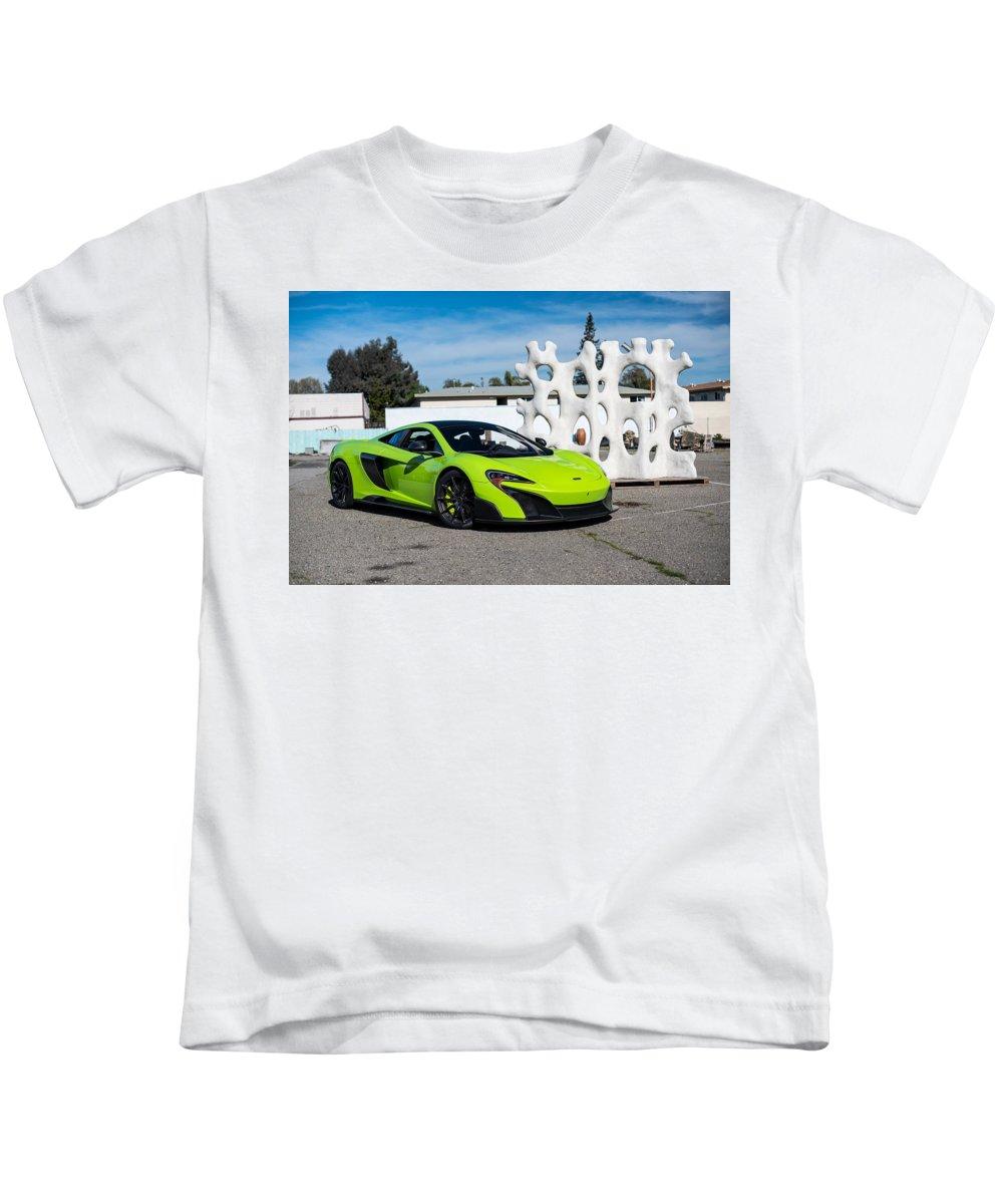 Mclaren 675lt Kids T-Shirt featuring the digital art Mclaren 675lt by Dorothy Binder