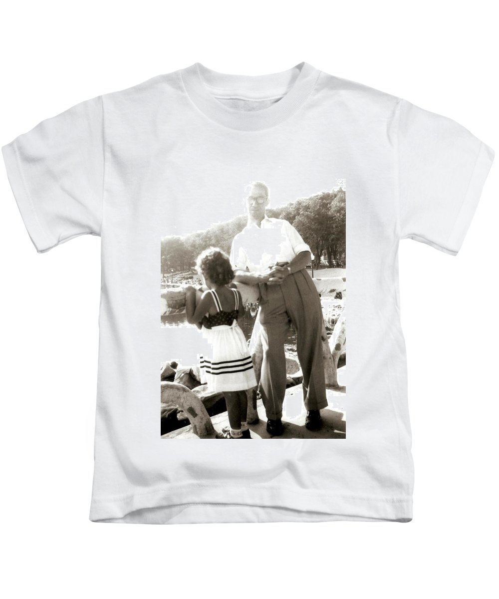 Family Photos Kids T-Shirt featuring the photograph Me And Dad On The Mountain by Carole Spandau