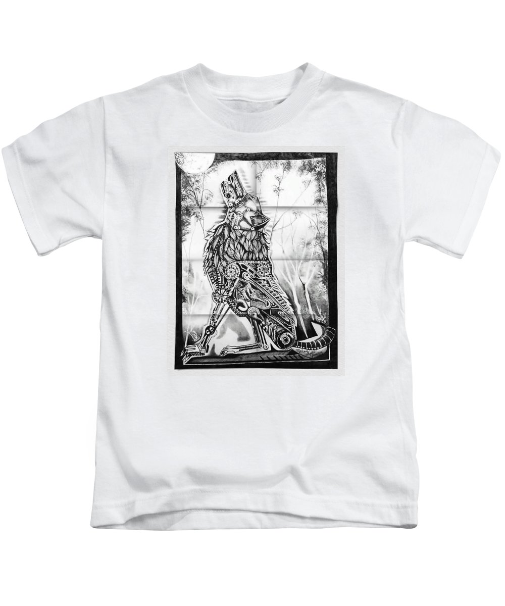 Mechanism Wolf Is Done In Pen And Ink. Kids T-Shirt featuring the drawing Mechanical Wolf by Melissa Young