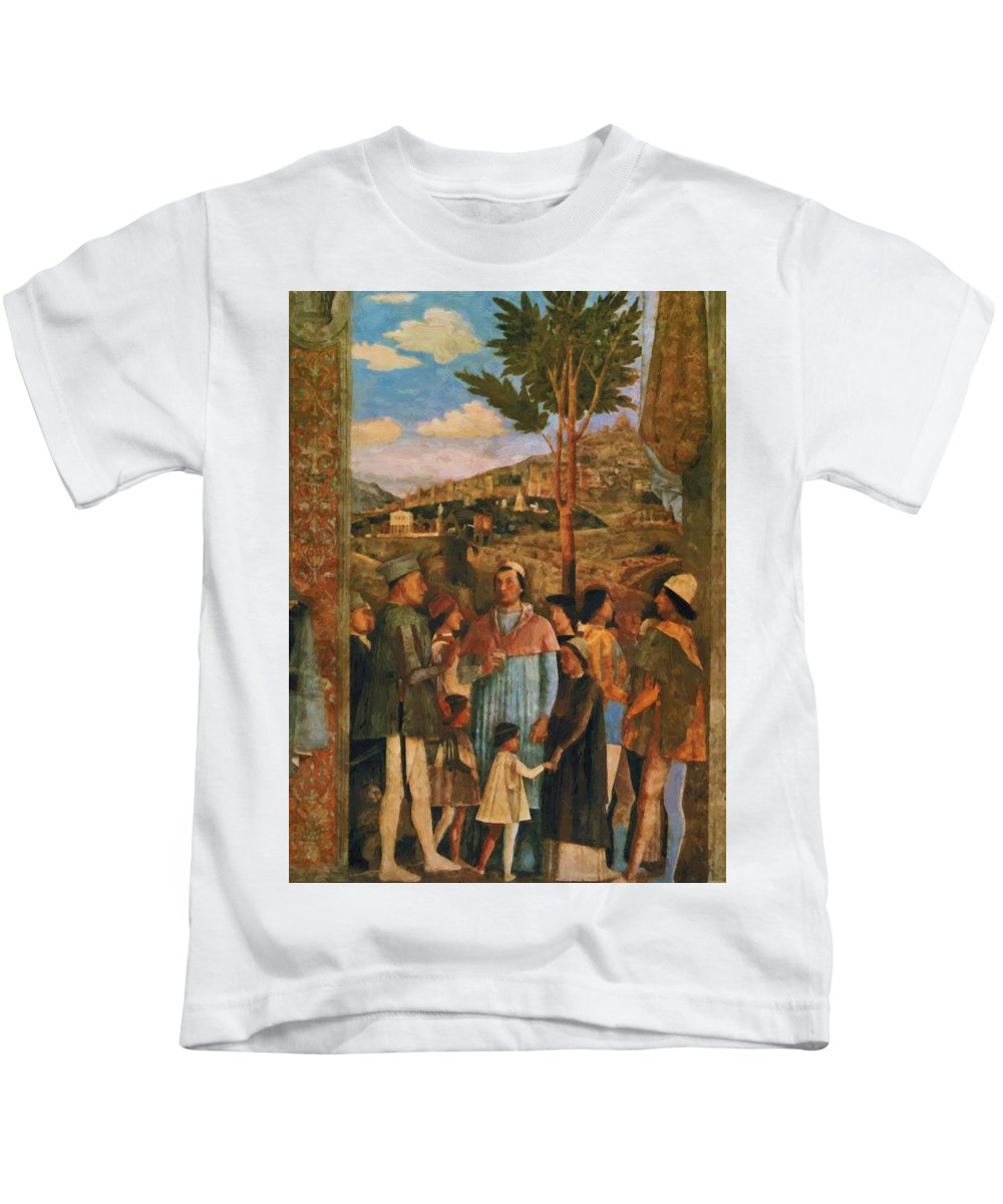 Meeting Kids T-Shirt featuring the painting Meeting Of Duke Ludovico II Gonzaga With Cardinal Francesco Gonz Fragment by Mantegna Andrea