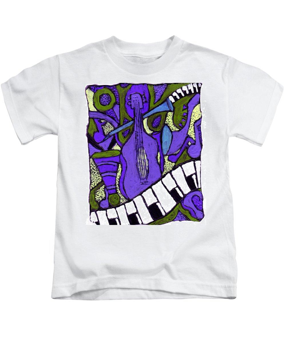 Jazz Kids T-Shirt featuring the painting Melllow Jazz by Wayne Potrafka