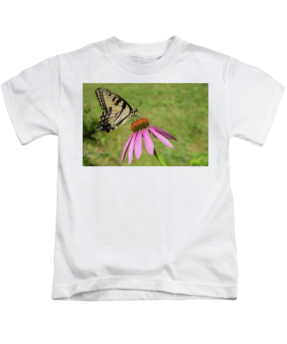 Butterfly Kids T-Shirt featuring the photograph Mellow Yellow by Linda Howes