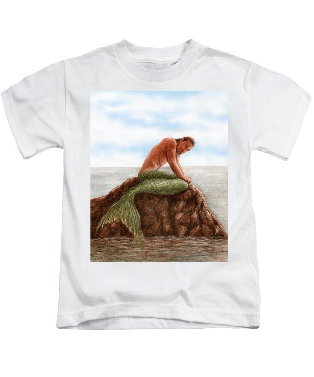 Merman Mermaid Bruce Lennon Art Kids T-Shirt featuring the painting Merman Resting by Bruce Lennon