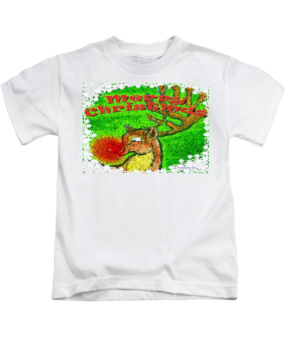 Merry Christmas Kids T-Shirt featuring the greeting card Merry Christmas Reindeer by Kevin Middleton
