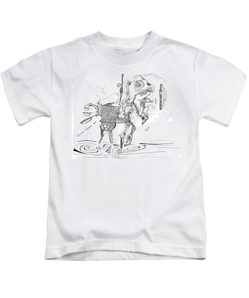 Carousel Kids T-Shirt featuring the drawing Merry-go-round Horse by Regina Valluzzi