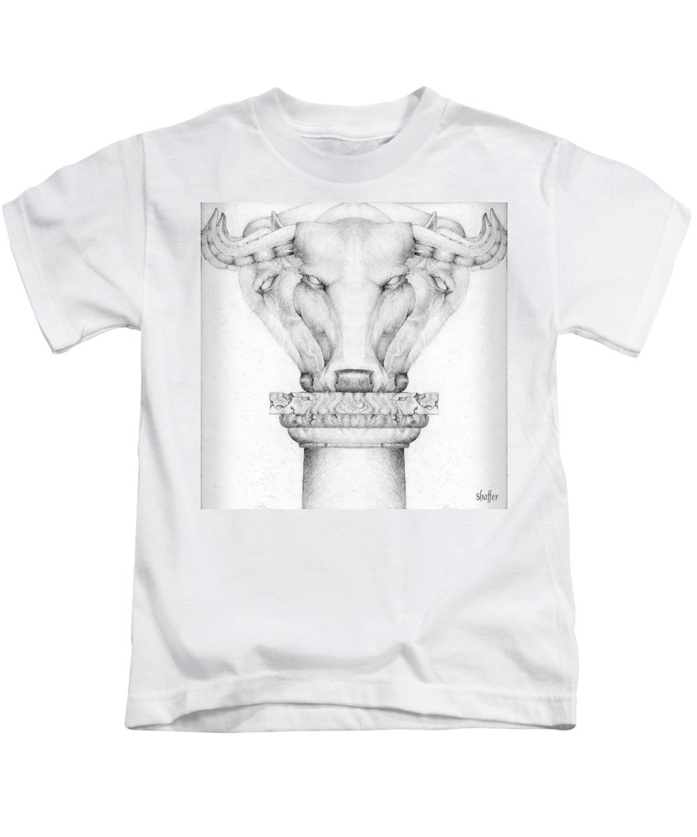 Bull Kids T-Shirt featuring the drawing Mesopotamian Capital by Curtiss Shaffer