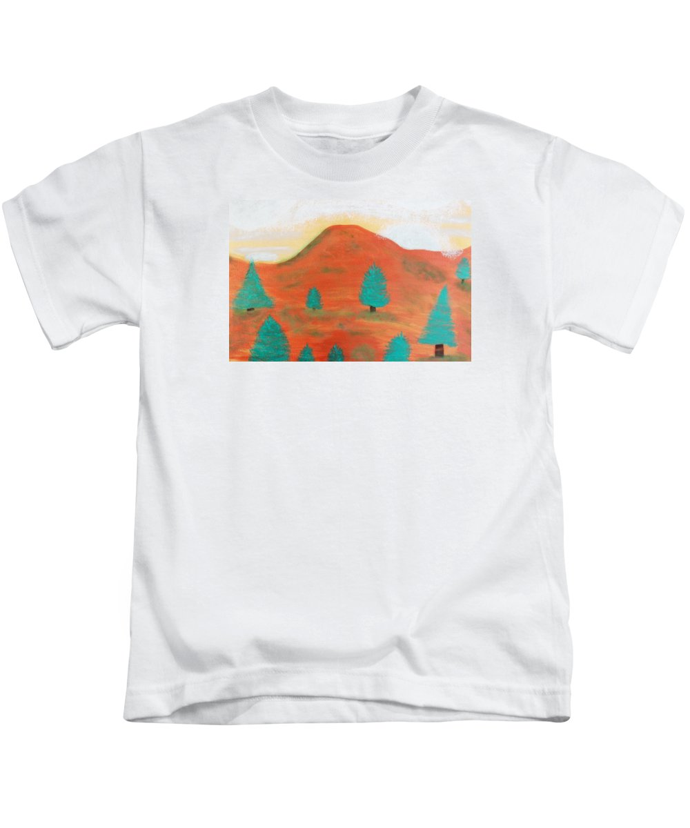 Metallic Kids T-Shirt featuring the painting Metallic Landscape by Connie Ann LaPointe