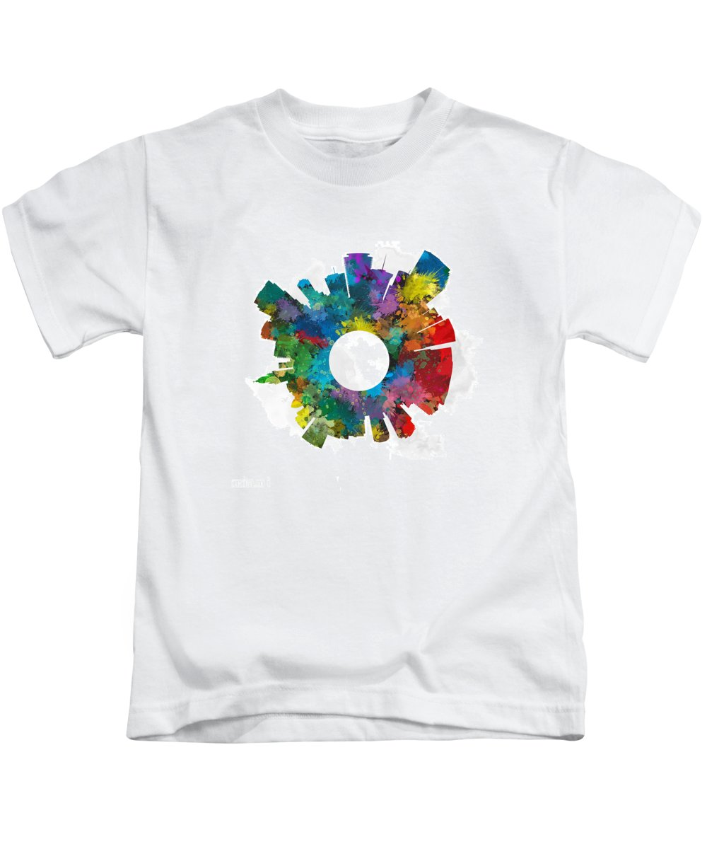 Map Kids T-Shirt featuring the digital art Miami Small World Cityscape Skyline Abstract by Jurq Studio