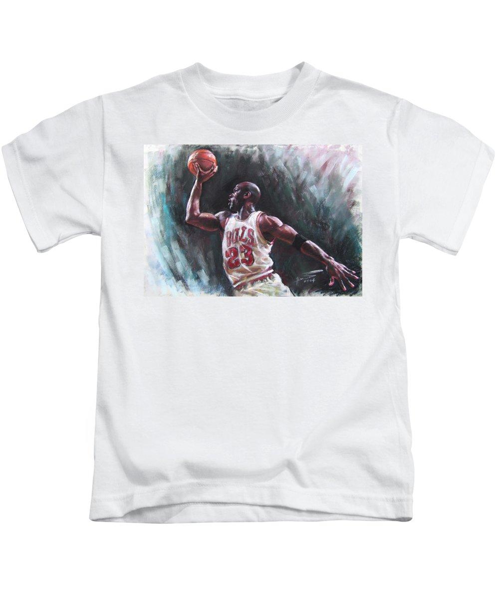 Michael Jordan Kids T-Shirt featuring the pastel Michael Jordan by Ylli Haruni