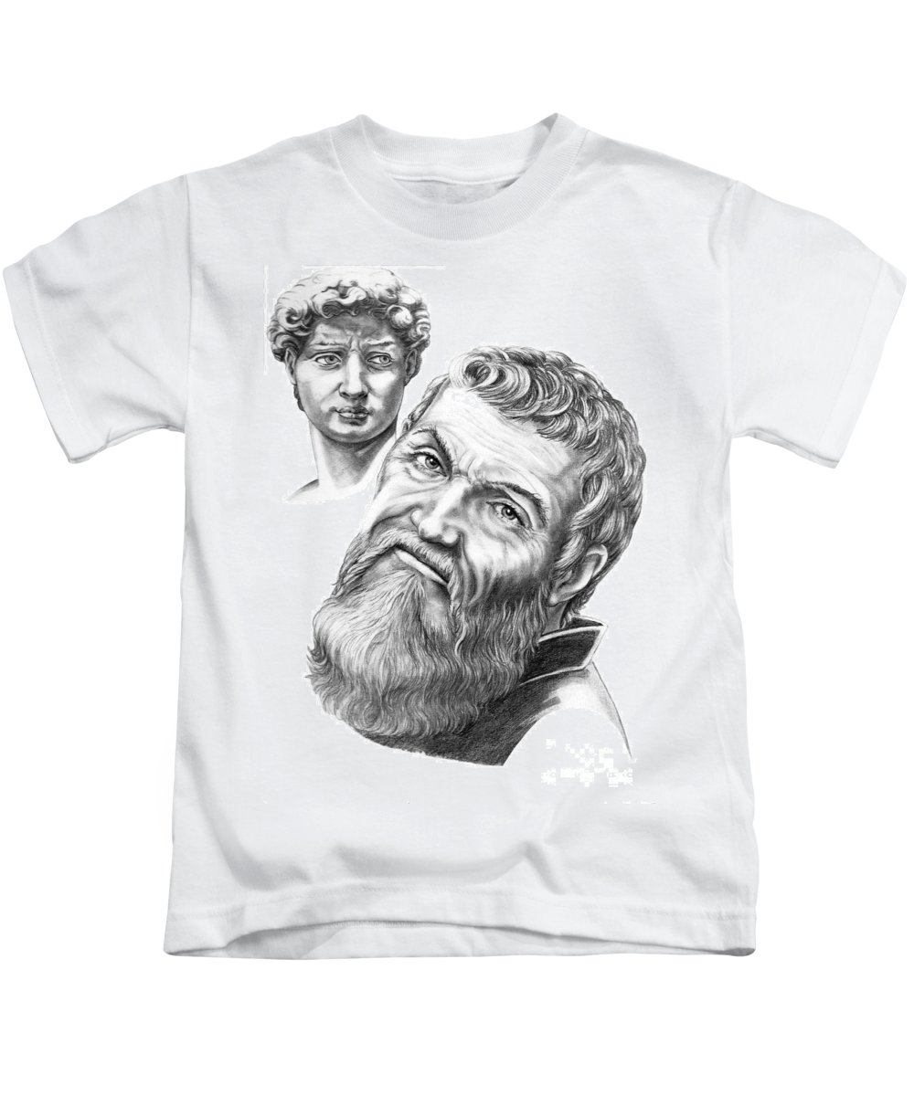 Michelangelo Kids T-Shirt featuring the drawing Michelangelo And David by Murphy Elliott