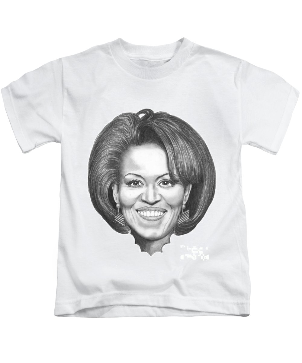 Drawing Kids T-Shirt featuring the drawing Michelle Obama by Murphy Elliott