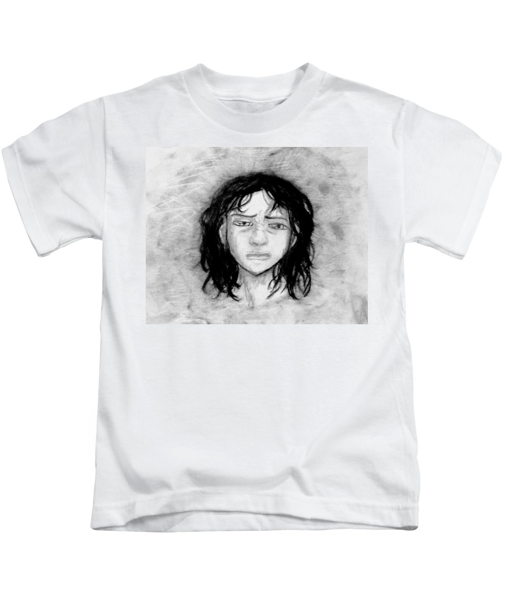 Kids T-Shirt featuring the drawing Migraine by Desiree D'Arnall