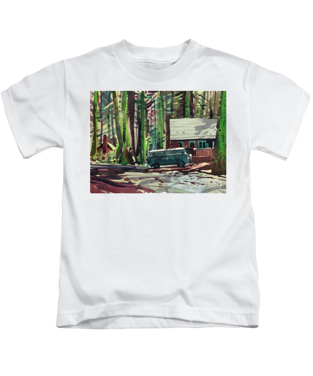 Mill Creek Kids T-Shirt featuring the painting Mill Creek Camp by Donald Maier