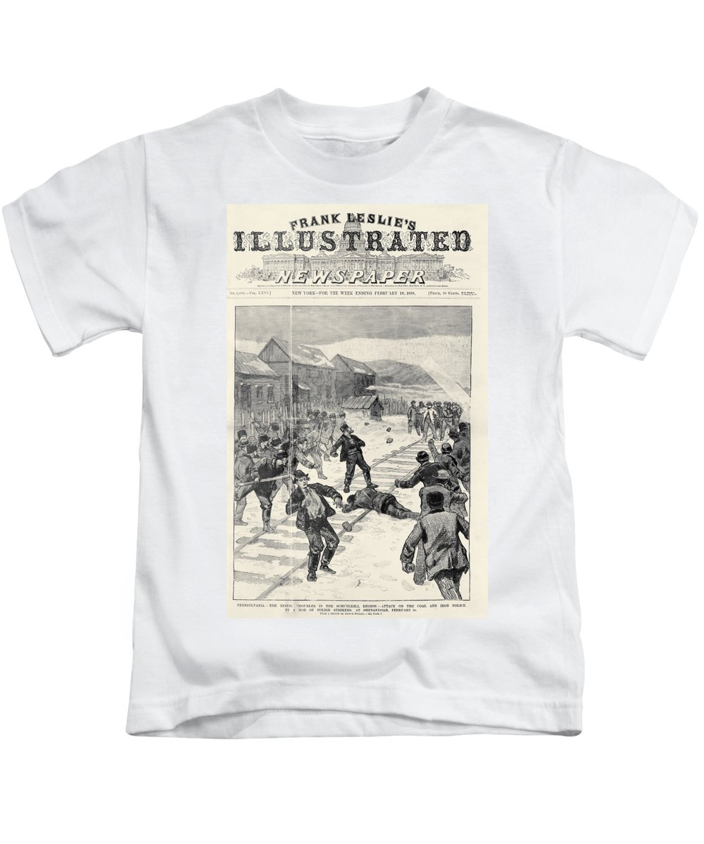 1888 Kids T-Shirt featuring the photograph Miner Strike, 1888 by Granger