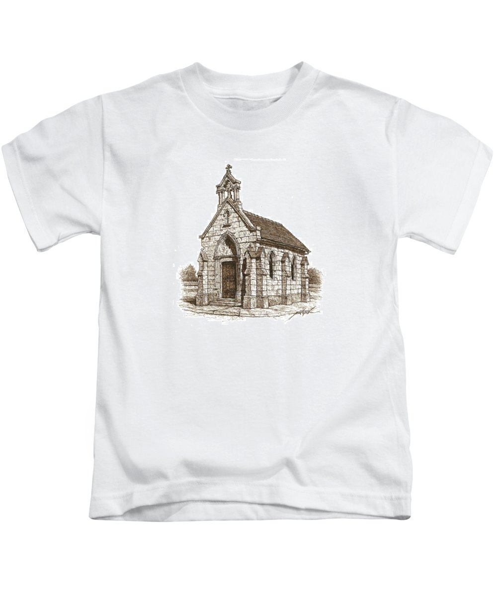 Stone Kids T-Shirt featuring the drawing Miniature Church Of Froberville by Larry Prestwich