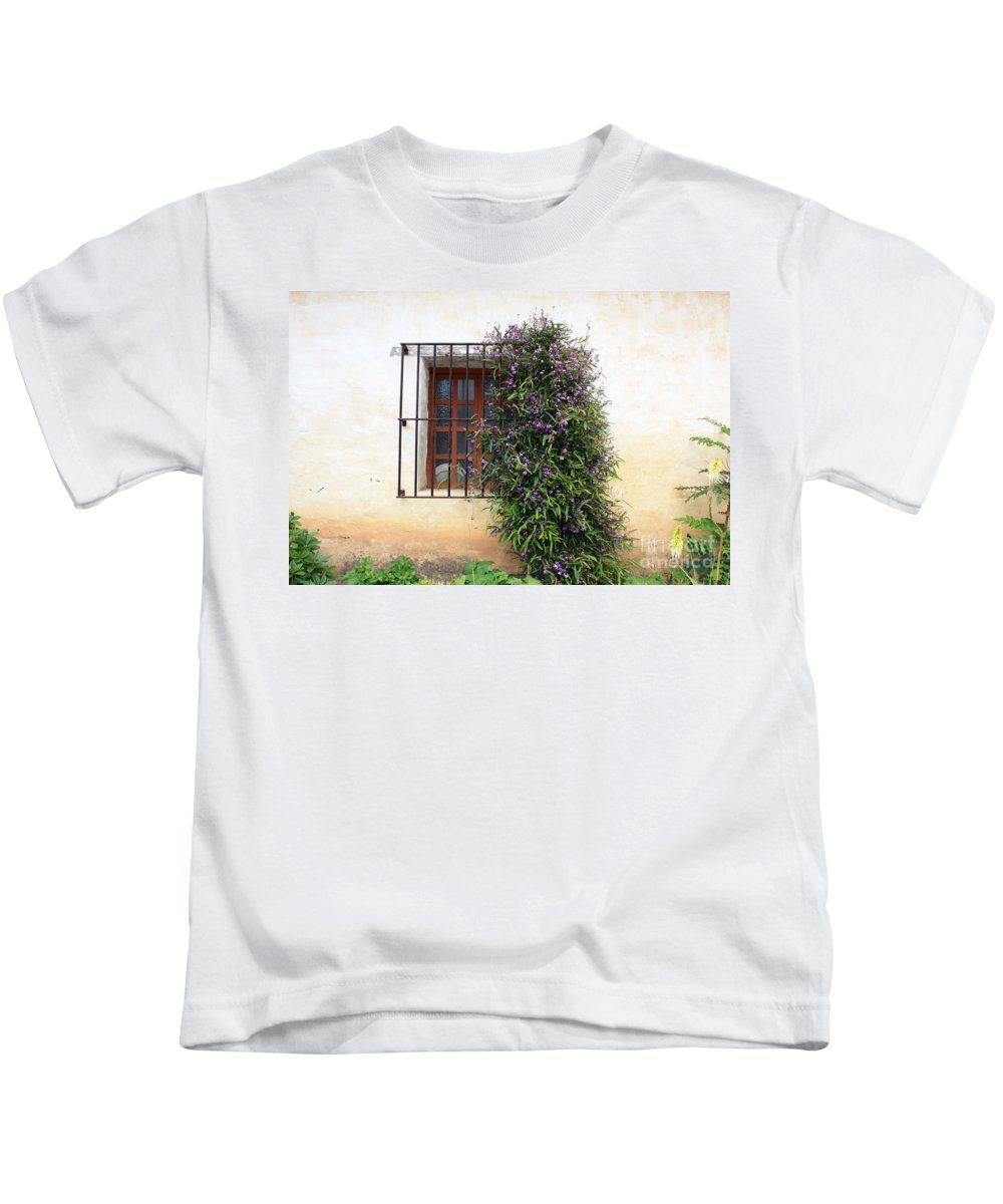 Purple Flowers Kids T-Shirt featuring the photograph Mission Window With Purple Flowers by Carol Groenen