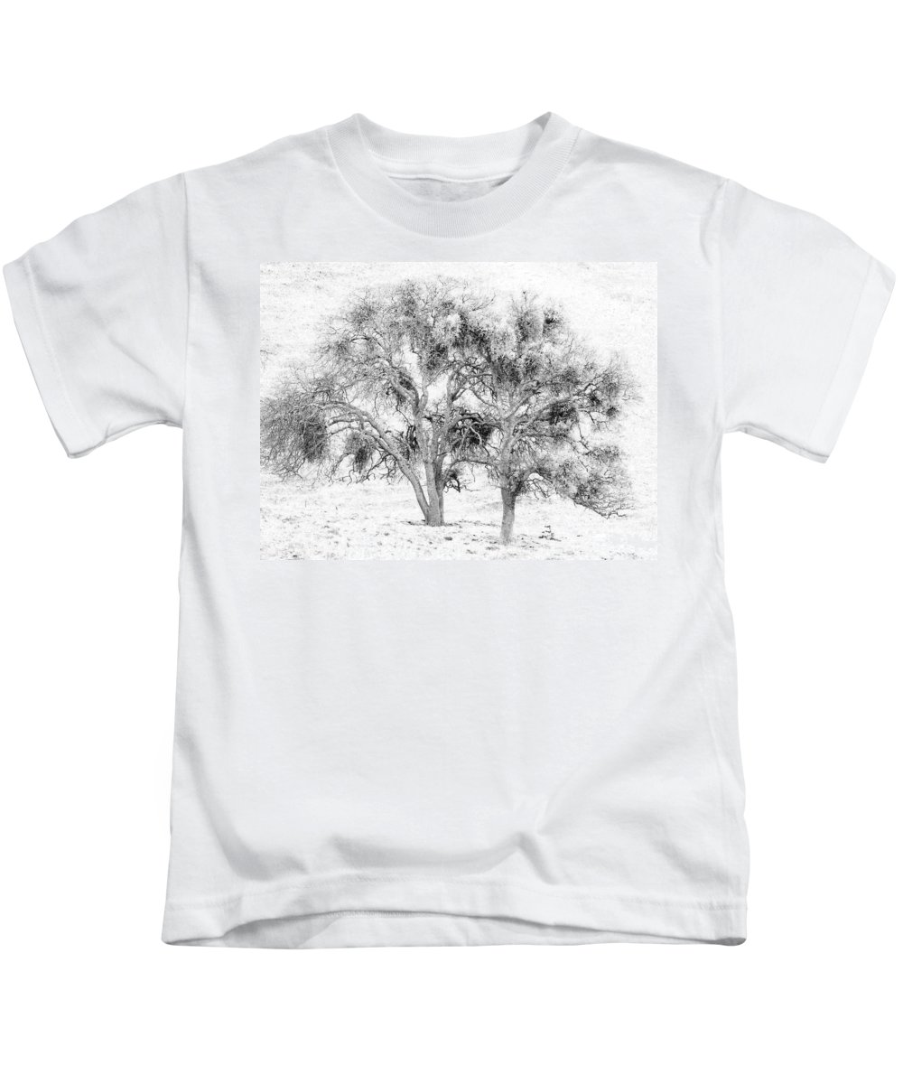 Trees Kids T-Shirt featuring the photograph Mistletoe Tree In Black And White by Karen W Meyer