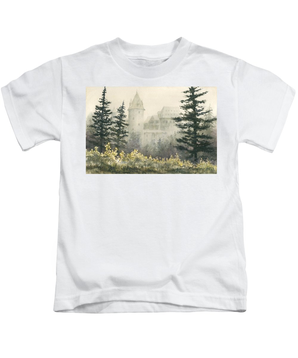Castle Kids T-Shirt featuring the painting Misty Morning by Sam Sidders
