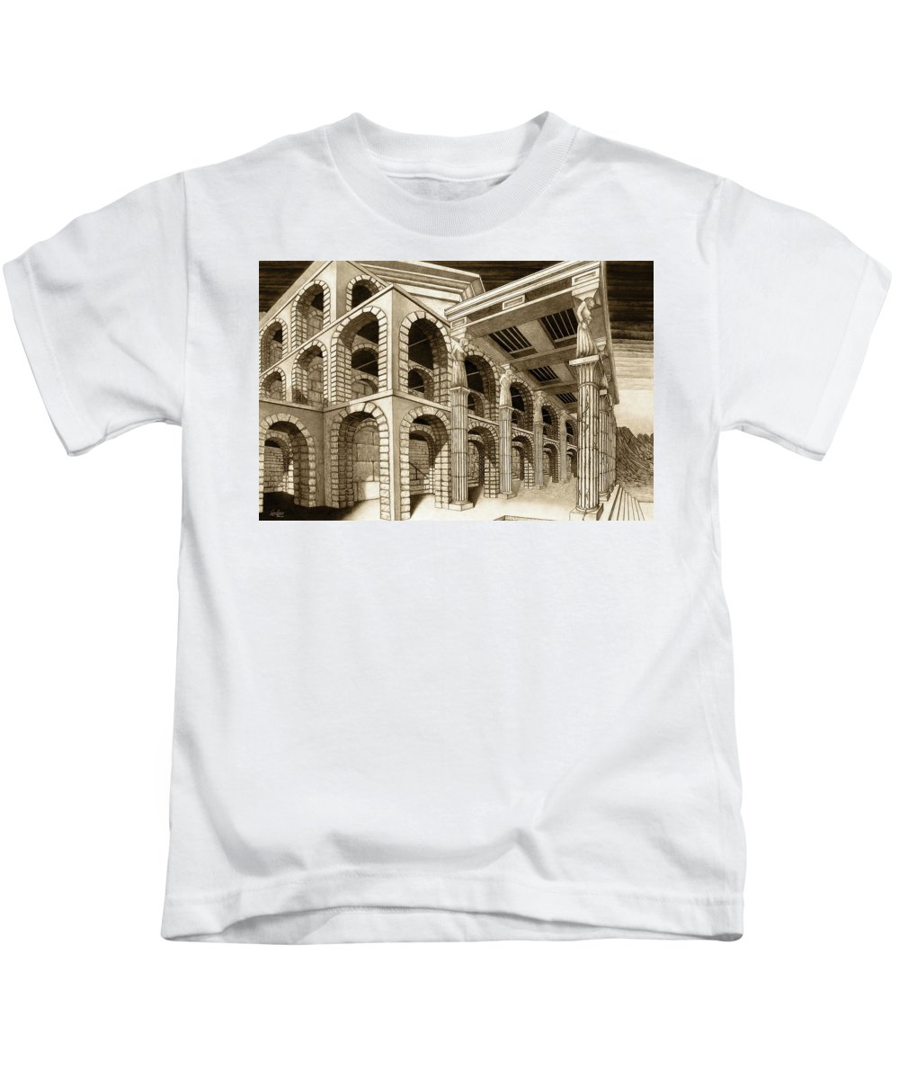 Mithlond Kids T-Shirt featuring the drawing Mithlond Gray Havens by Curtiss Shaffer