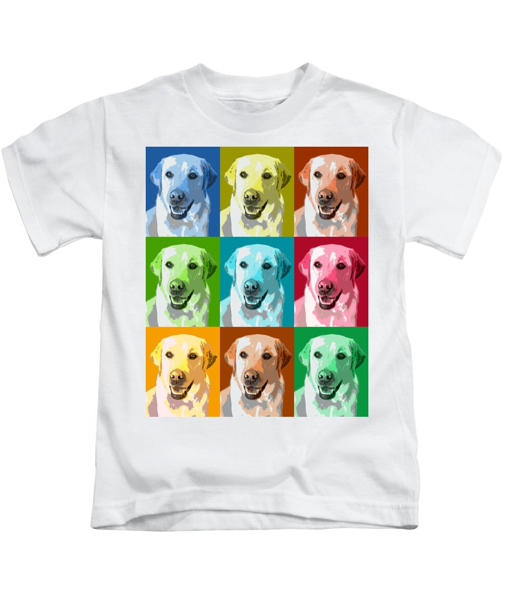 Americana Kids T-Shirt featuring the photograph Golden Retriever Warhol by Marilyn Hunt