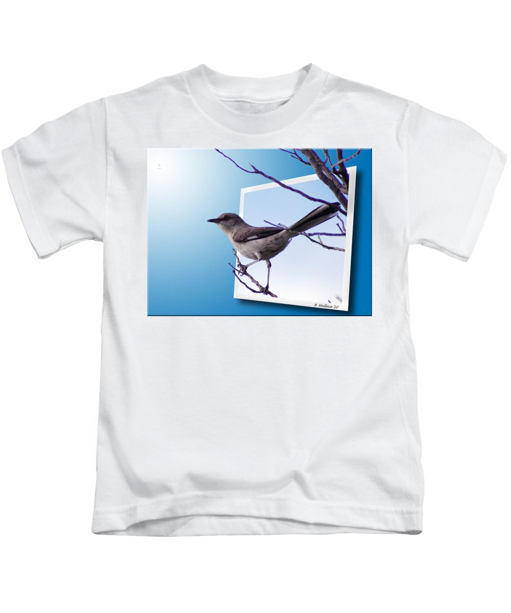 2d Kids T-Shirt featuring the photograph Mockingbird Branch by Brian Wallace