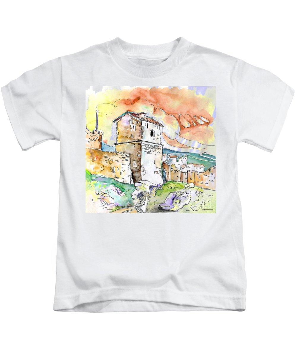 Travel Sketch Kids T-Shirt featuring the painting Molina De Aragon Spain 02 by Miki De Goodaboom