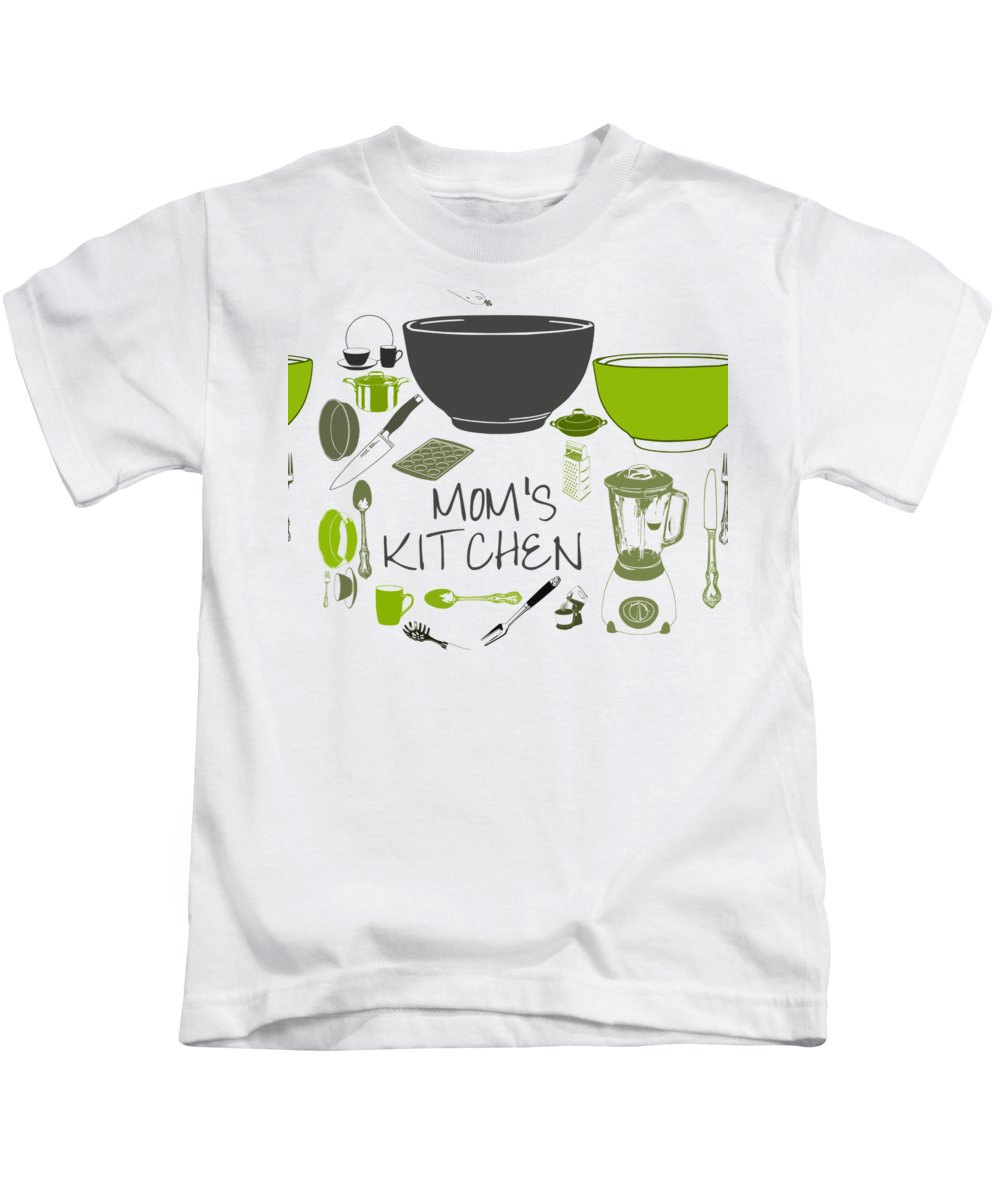 Mom Kids T-Shirt featuring the digital art Moms Retro Kitchen Cookware by Anne Kitzman