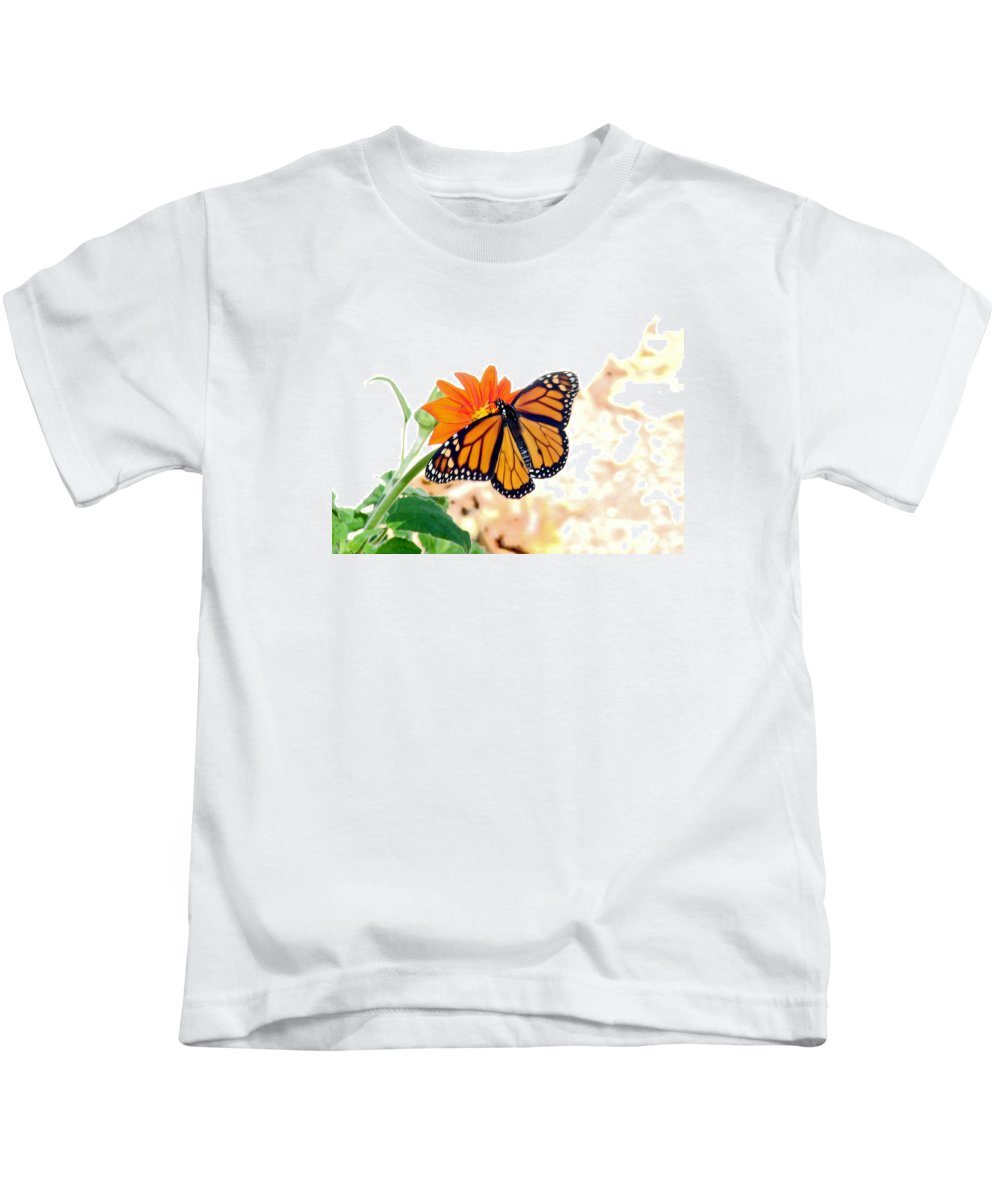 Butterflies Kids T-Shirt featuring the photograph Monarch by Mary Halpin