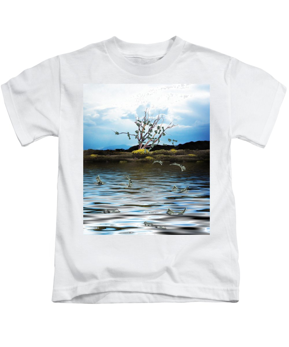 Money Tree Kids T-Shirt featuring the photograph Money Tree On A Windy Day by Gravityx9  Designs