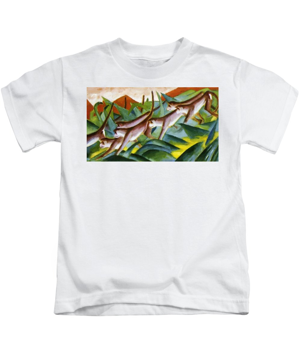 Monkey Kids T-Shirt featuring the painting Monkey Frieze 1911 by Marc Franz