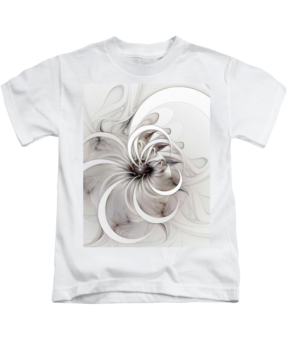 Digital Art Kids T-Shirt featuring the digital art Monochrome Flower by Amanda Moore