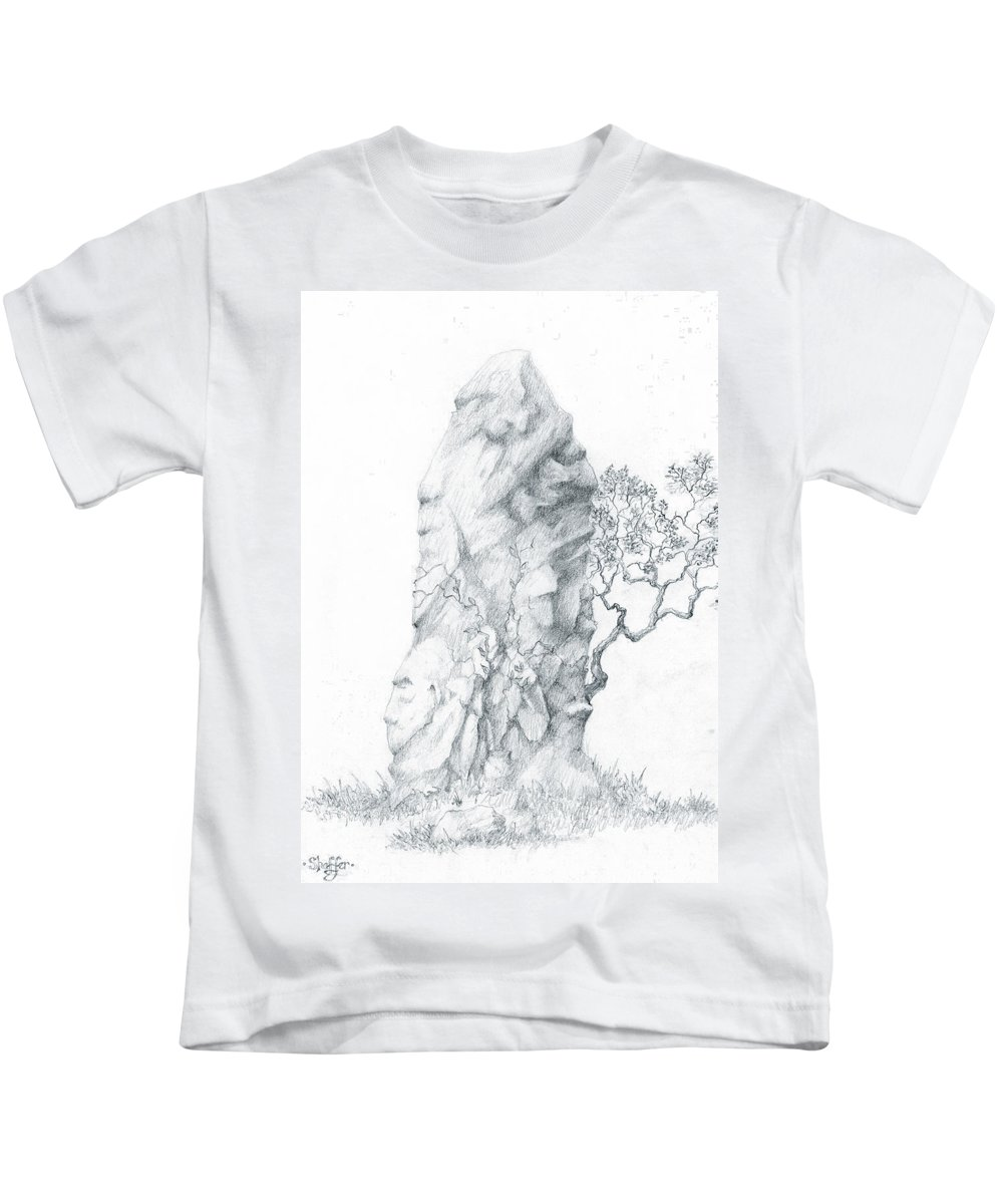 Megalith Kids T-Shirt featuring the drawing Monolith 2 by Curtiss Shaffer