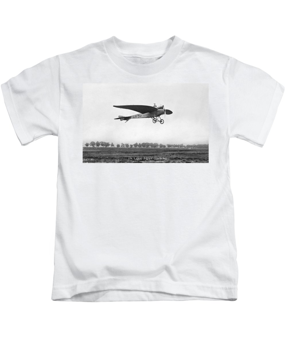 1910 Kids T-Shirt featuring the photograph Monoplane, 1910 by Granger
