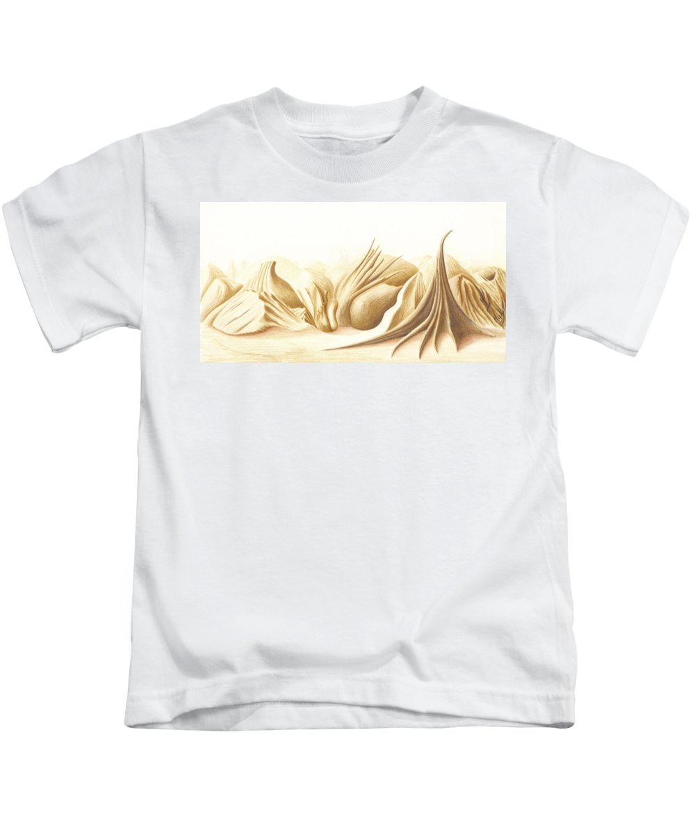 Landscape Kids T-Shirt featuring the painting Monoworld by Mike Thompson