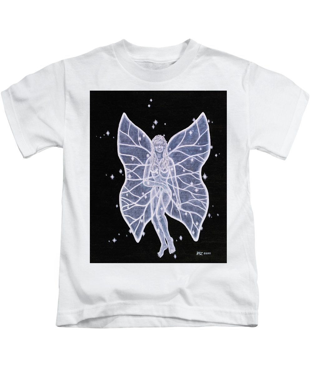 Fairy Kids T-Shirt featuring the painting Moon Fairy by Roz Eve