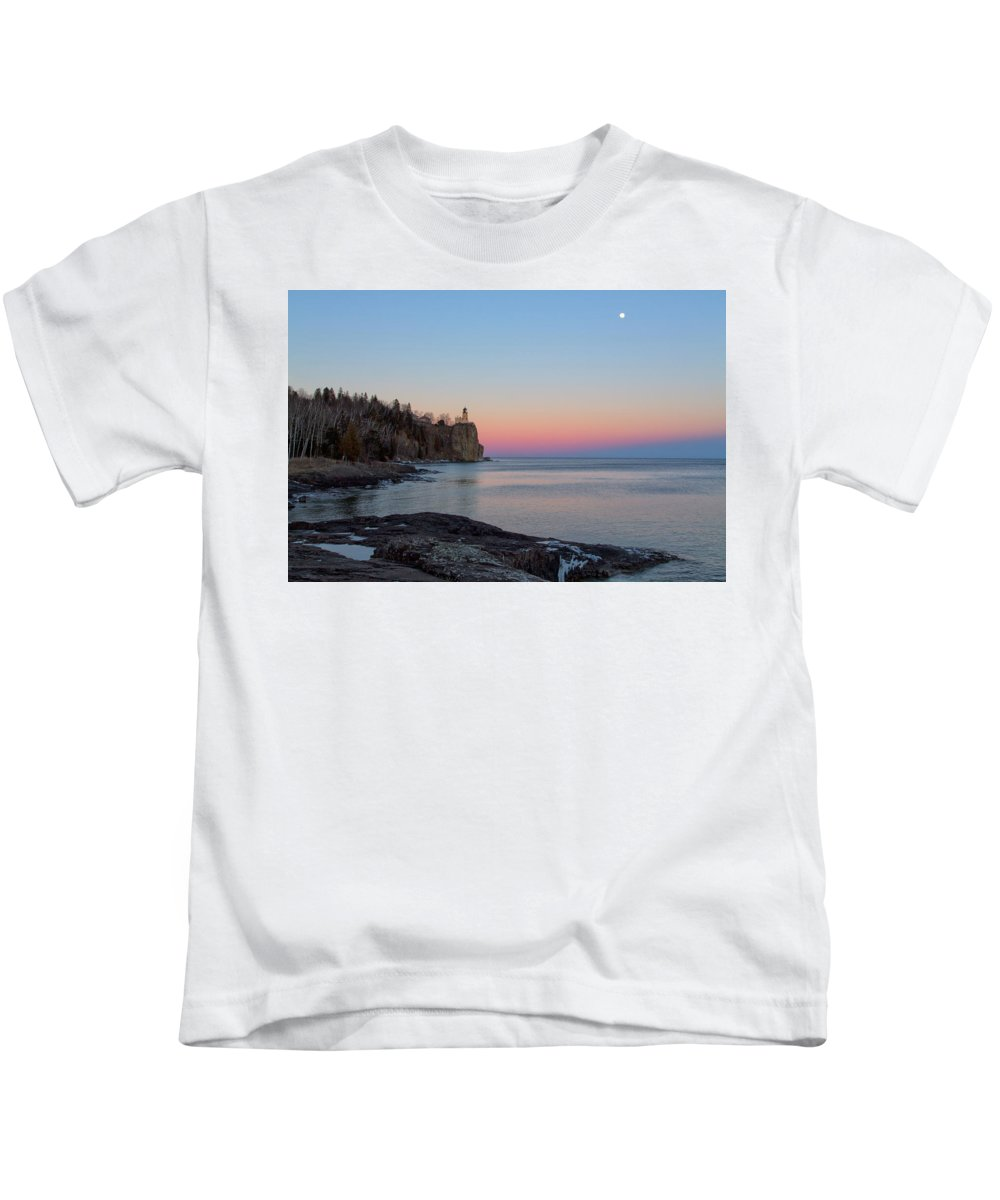 Lake Superior Kids T-Shirt featuring the photograph Moonrise Glow by Nancy Dunivin