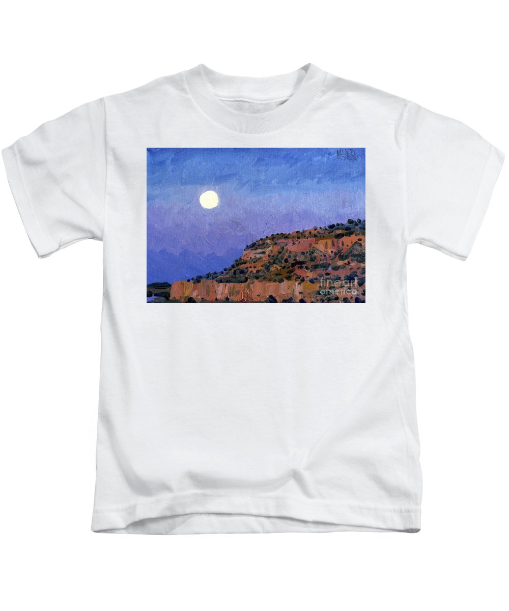 Moonrise Kids T-Shirt featuring the painting Moonrise Over Gallup by Donald Maier