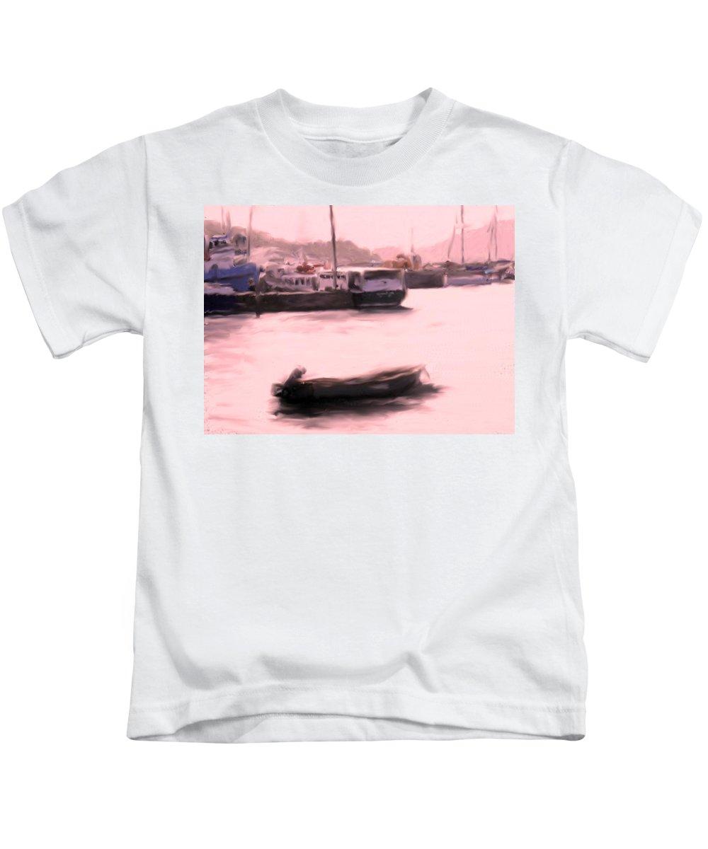 Kids T-Shirt featuring the photograph Morning Boats by Ian MacDonald