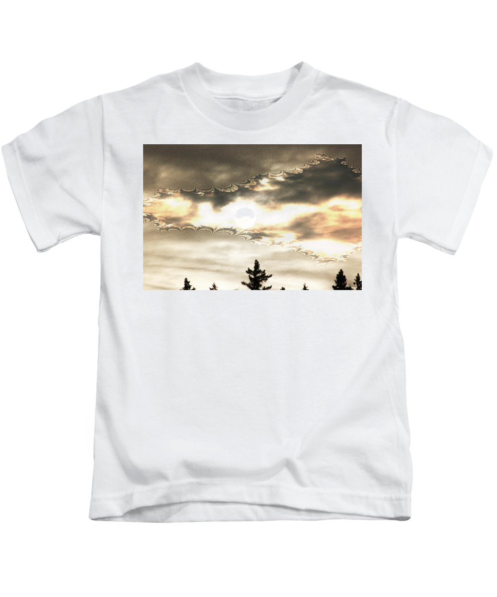 Moon Sky Trees Abstract Forest Wild Portal Clouds Gold Fractal Kids T-Shirt featuring the digital art Morning Moon by Andrea Lawrence