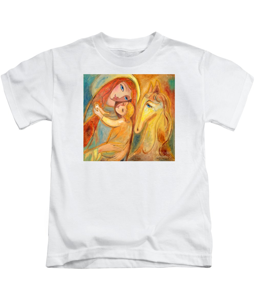 Mother And Child Kids T-Shirt featuring the painting Mother And Child On Horse by Shijun Munns
